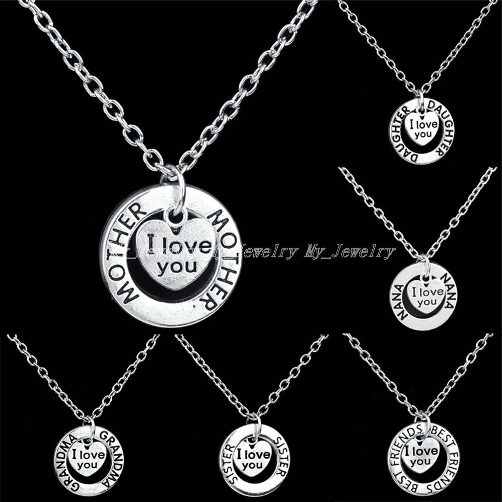 family circle charm pendant necklace gifts i you