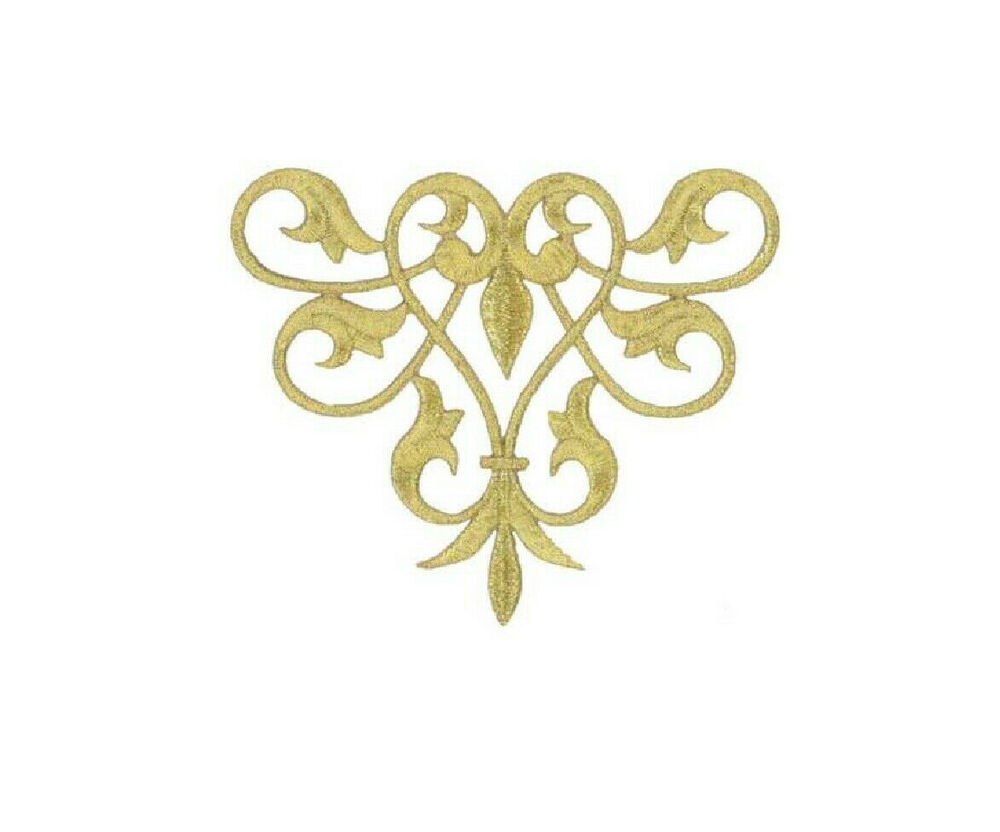 Fleur De Lis Abstract Design - Gold Metallic Applique ...