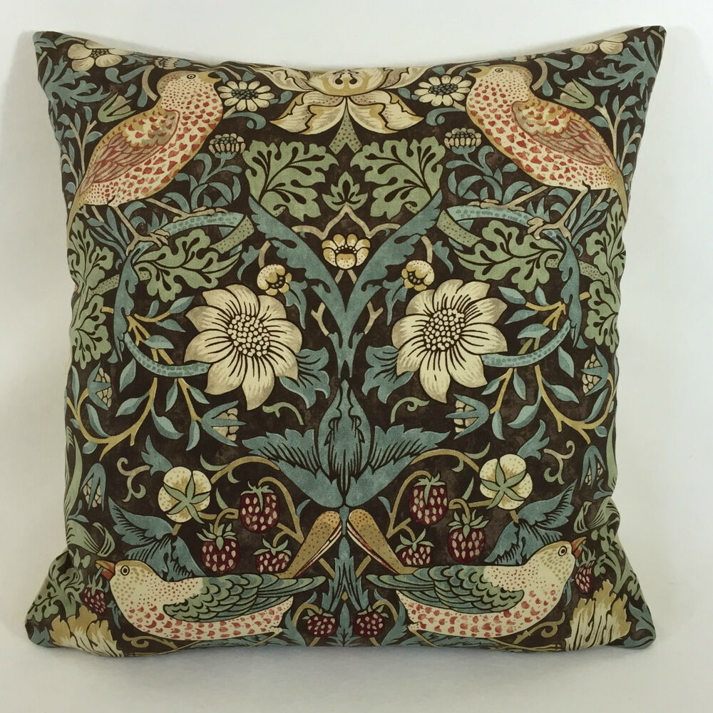William Morris Strawberry Thief Chocolate Slate Cushion