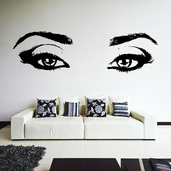 Wall Art Stickers Eyes : Wall decal womens eyes silhouette sexy teens face art