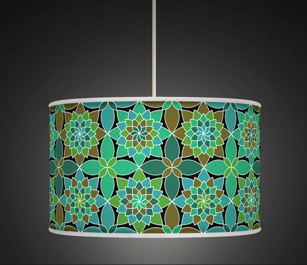 turquoise geometric handmade lampshade drum lampshade ceiling light. Black Bedroom Furniture Sets. Home Design Ideas