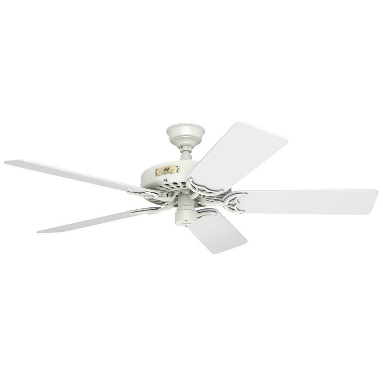 Hunter 52 original cast iron white indoor outdoor damp rated ceiling fan 23845 ebay - Black iron ceiling fan ...
