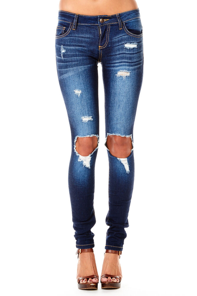 Womens Ladies Cute Dark Wash Ripped Cut Out Holes Destroyed Skinny Jeans Pants | eBay