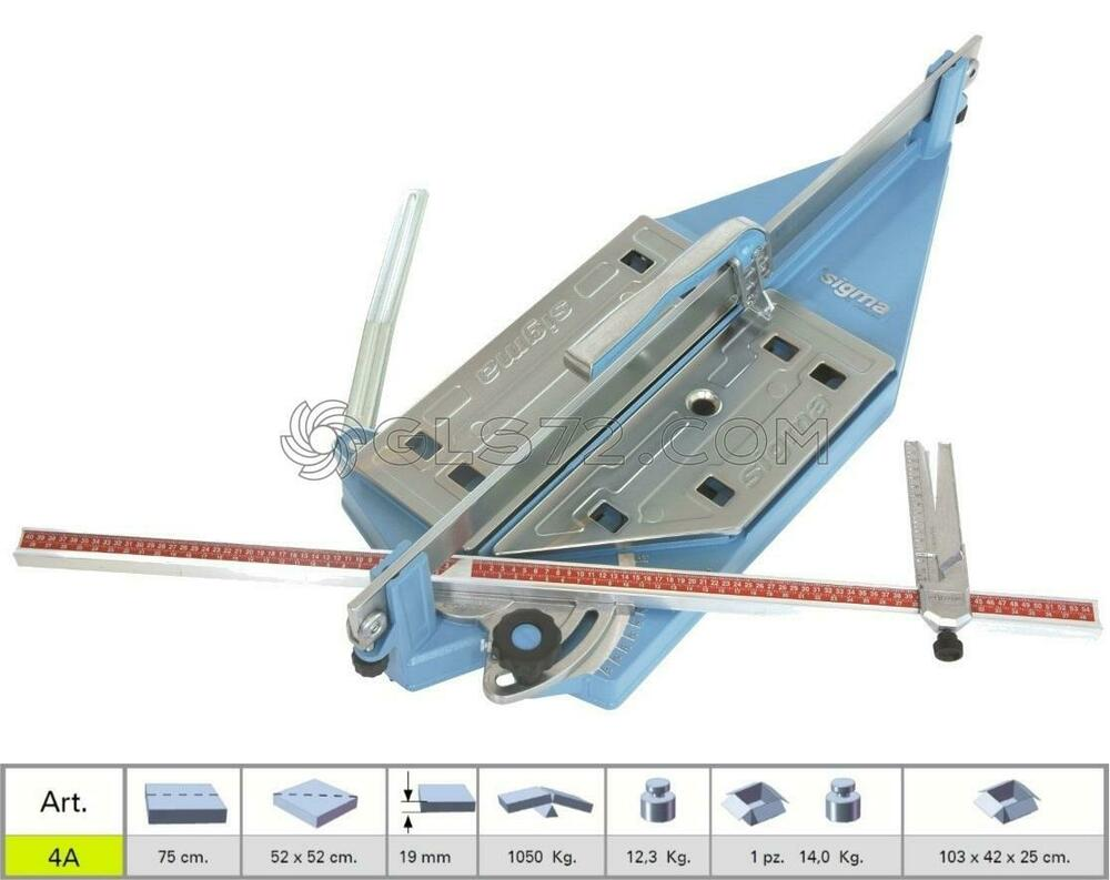 Tile Cutter Machine Pull Handle Sigma 4a Serie Diagonale Cutting Lenght 75 Cm