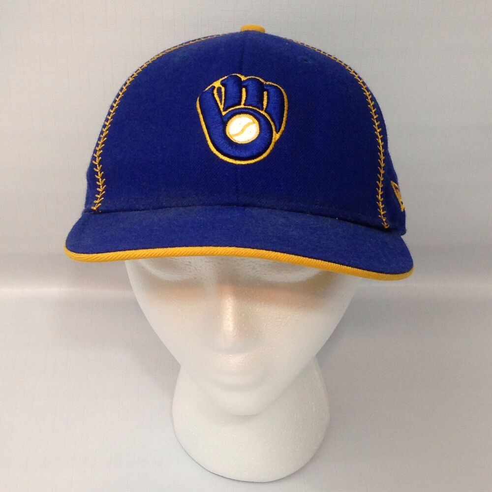 watch b7221 0e1a8 Details about Retro Milwaukee Brewers Baseball Hat Cap - Fitted 7 1 4 - New  Era - Rare