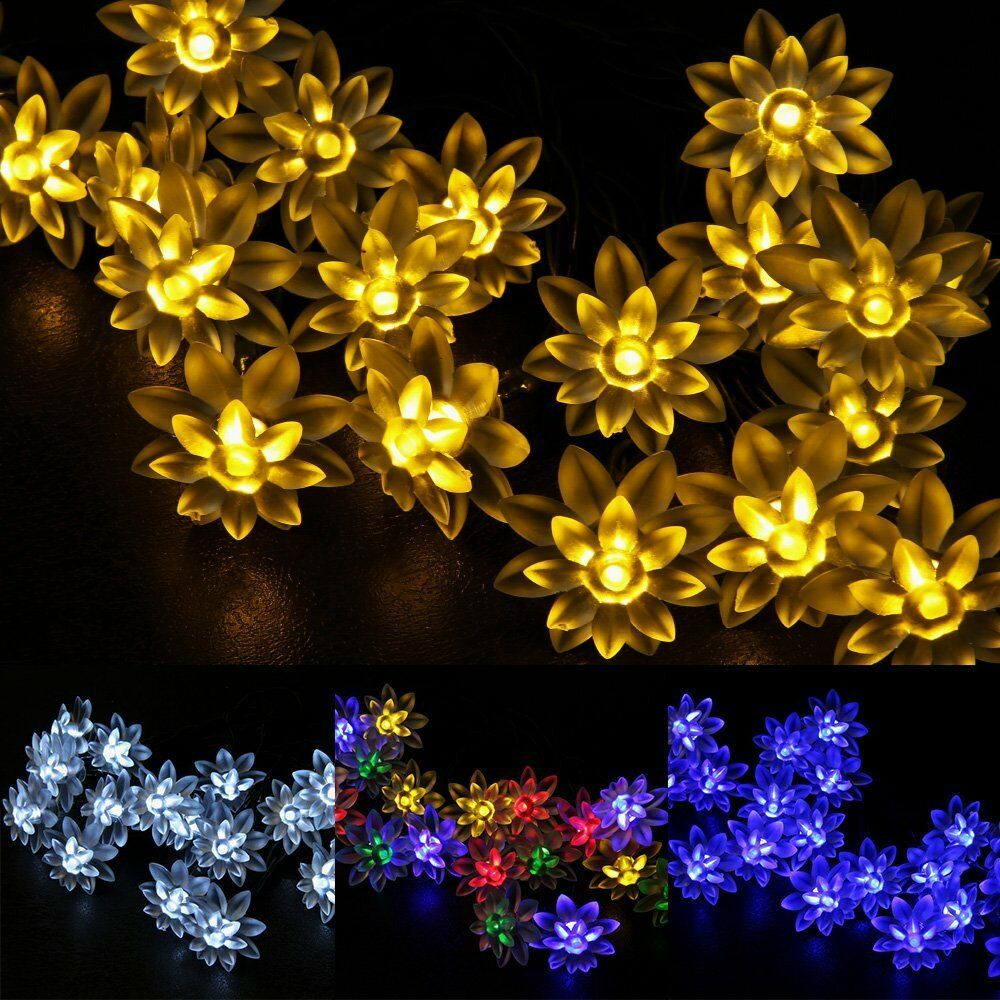 Lotus Flower Solar 5m 20leds Fairy String Lights Outdoor Xmas Party