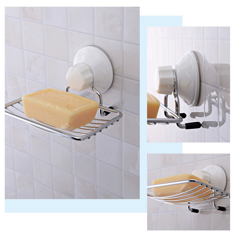 Stainless Steel Soap Rack Holder Suction Tray Dish Shower Bathroom Sink Toilet