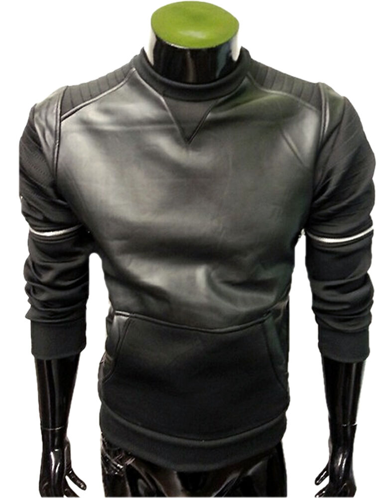 lure 2 herren sweatshirt pullover in leder optik biker stepp sweater 4456 ebay. Black Bedroom Furniture Sets. Home Design Ideas