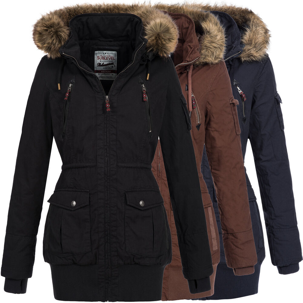 sublevel damen winter jacke winter mantel parka kunst pelz kapuze 44276a ebay. Black Bedroom Furniture Sets. Home Design Ideas