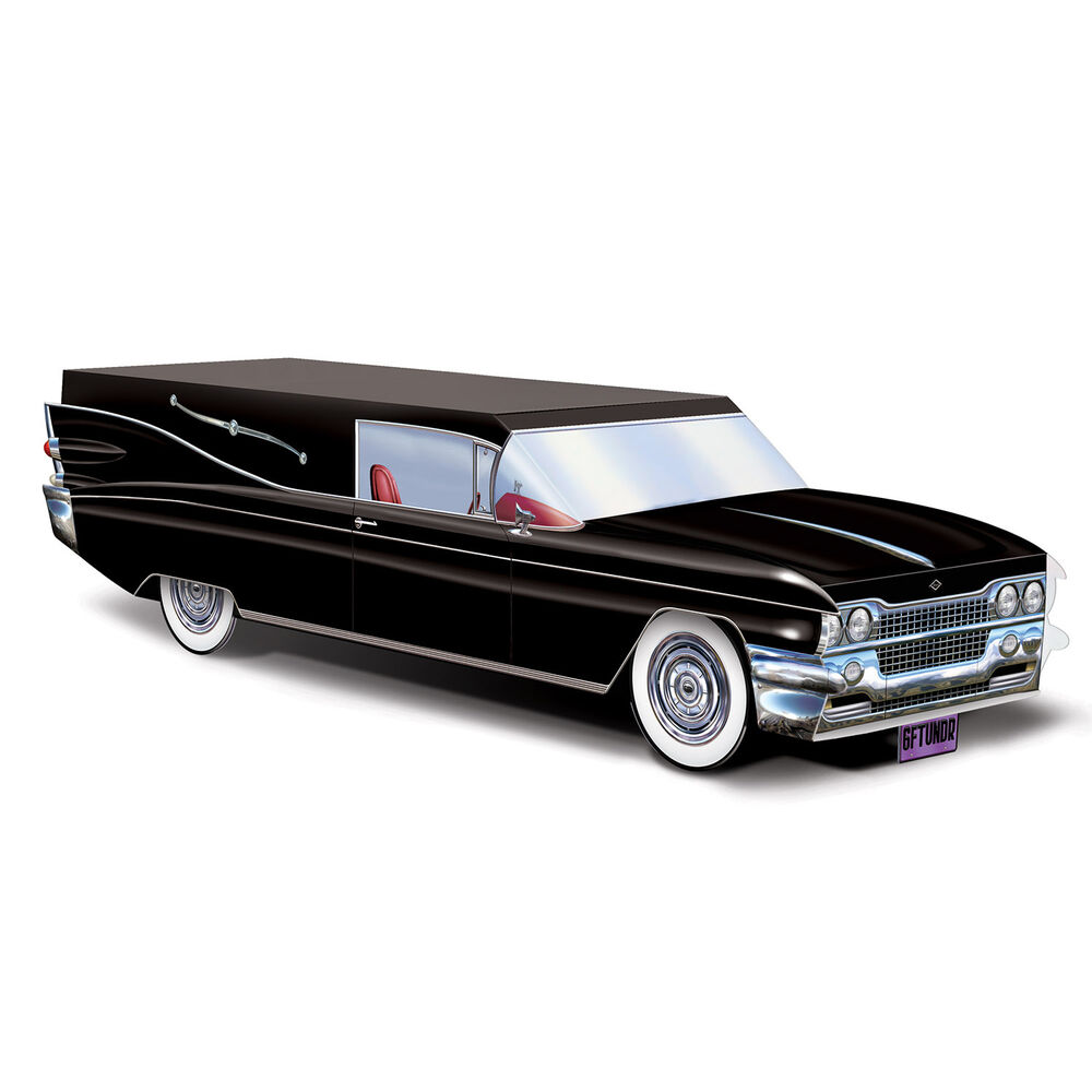 HALLOWEEN Gothic Party Decoration Funeral Car BLACK HEARSE