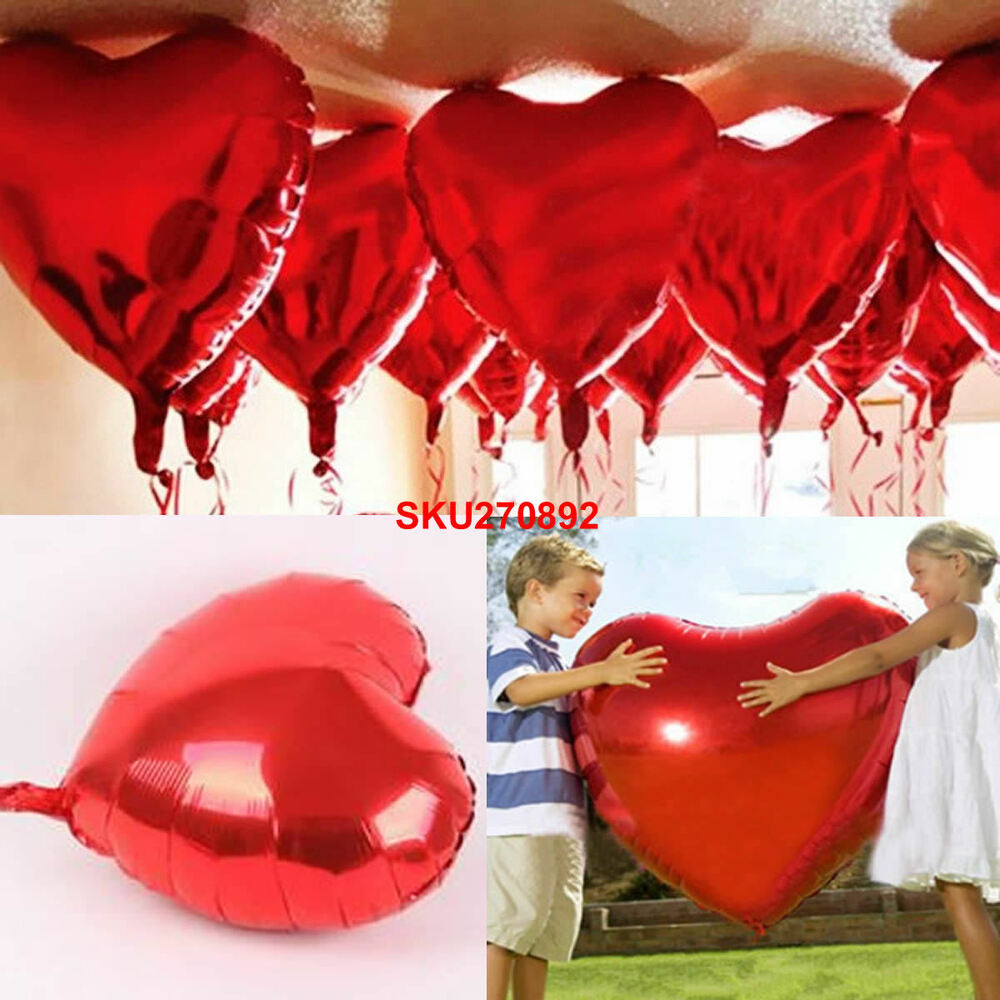10 heart foil helium balloons valentines day wedding party for Balloon decoration for engagement party