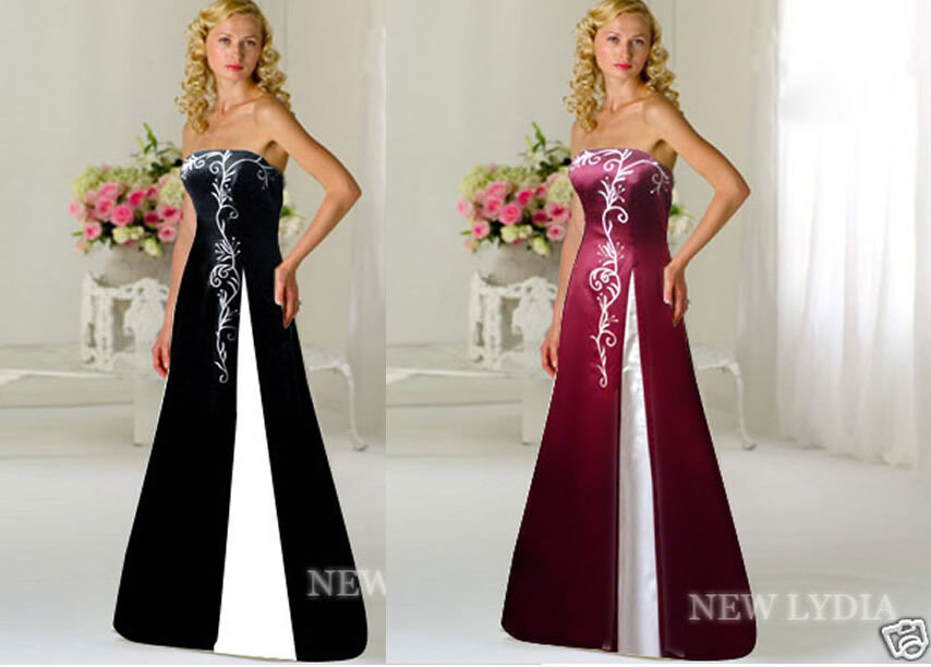 Uk Stock Embroidery Formal Prom Gown Bridesmaid Cocktail