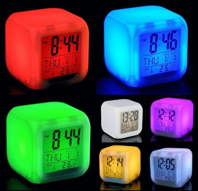 digital alarm thermometer night glowing cube 7 colors. Black Bedroom Furniture Sets. Home Design Ideas