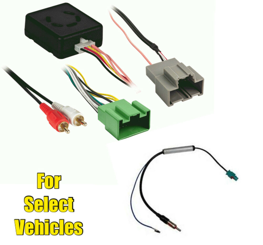 car stereo radio chimes  acc  databus wire harness adapter combo for select gm