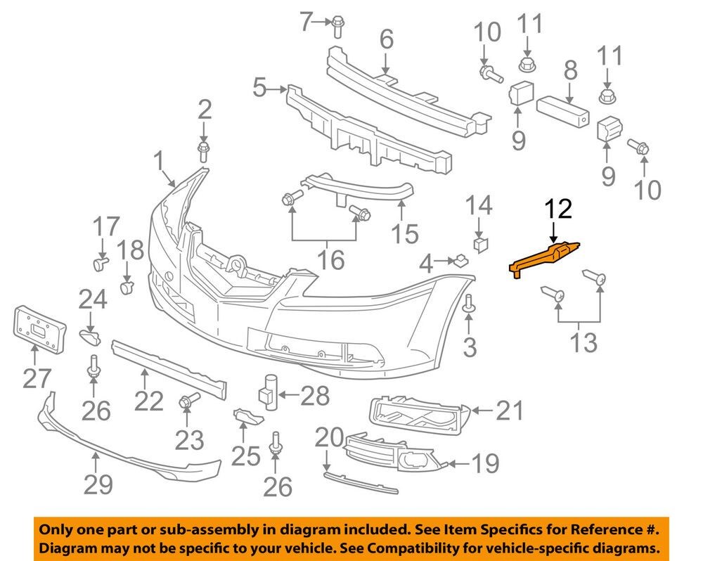 Acura HONDA OEM 04-08 TL Front Bumper-Spacer Support ...