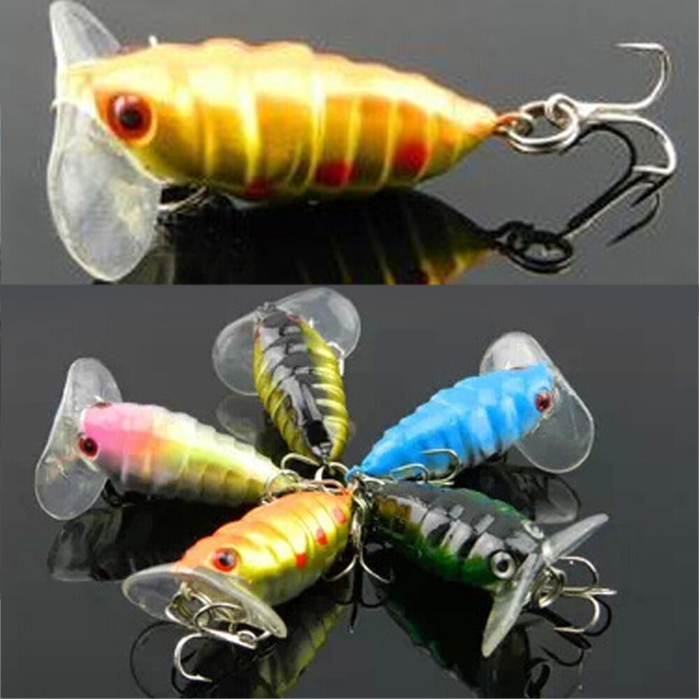 1 pcs plastic water insects lure fishing bait bass crank for Best hooks for bass fishing