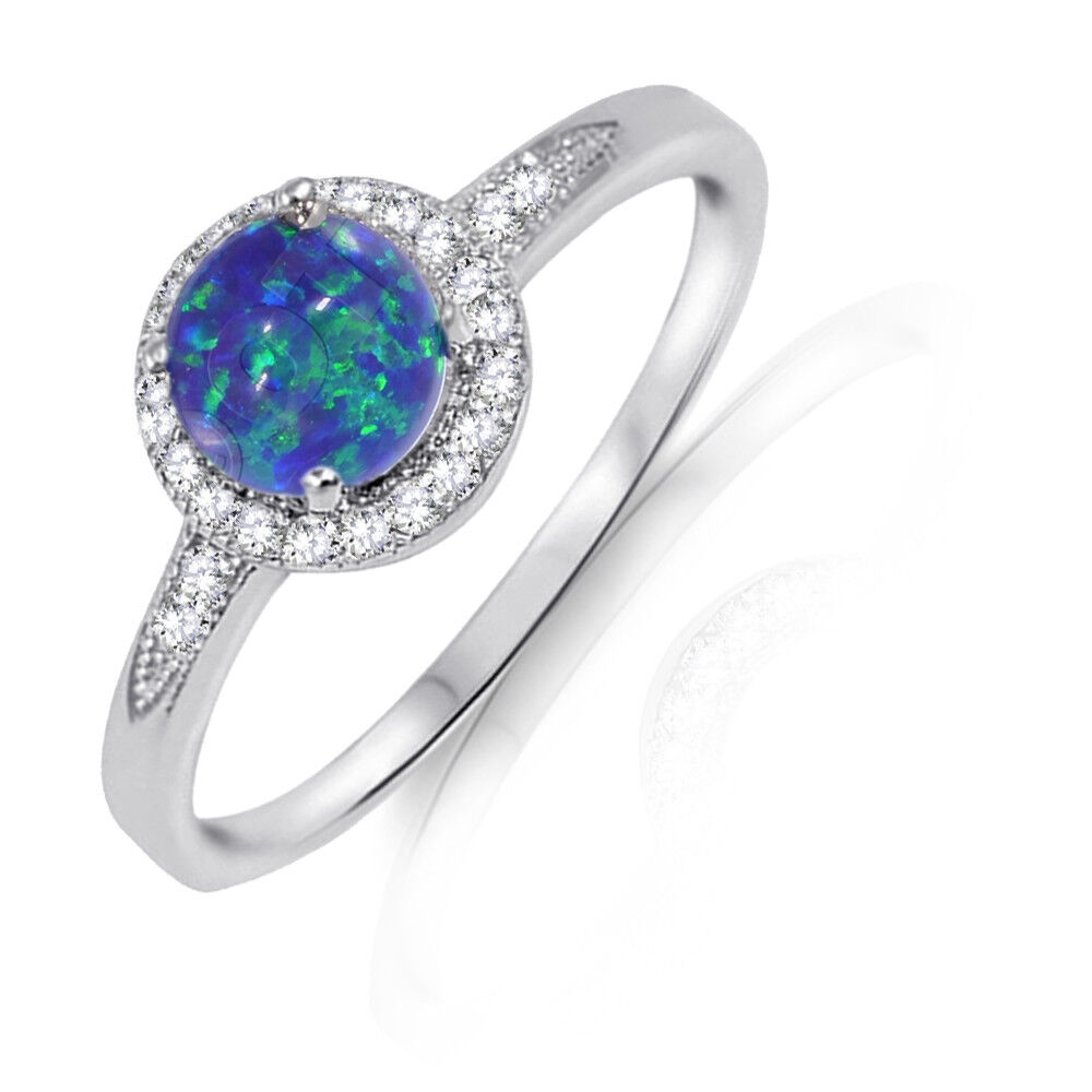 Round Halo Dark Blue Fire Opal Engagement CZ Sterling Silver Ring Size 4