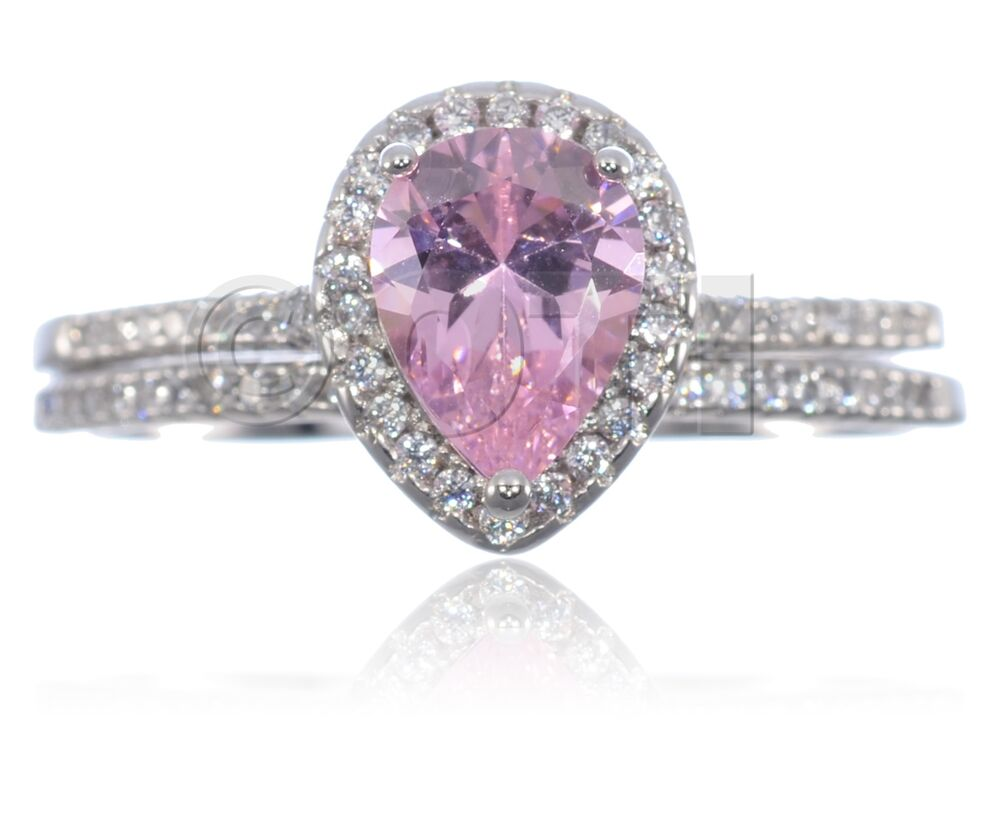 White Gold Pink Sapphire Pear Drop Cut Clear CZ Engagement