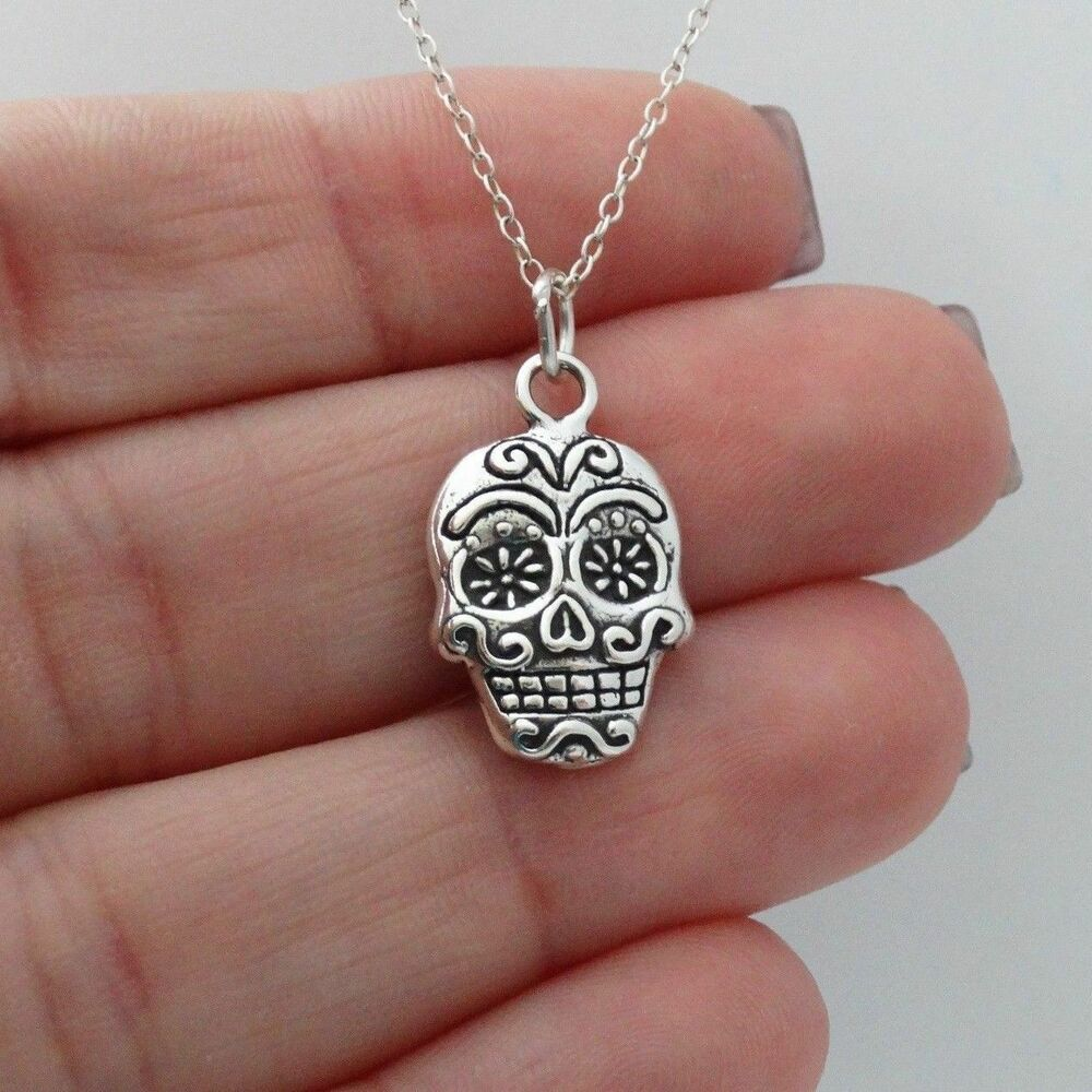 sugar skull charm necklace 925 sterling silver day of