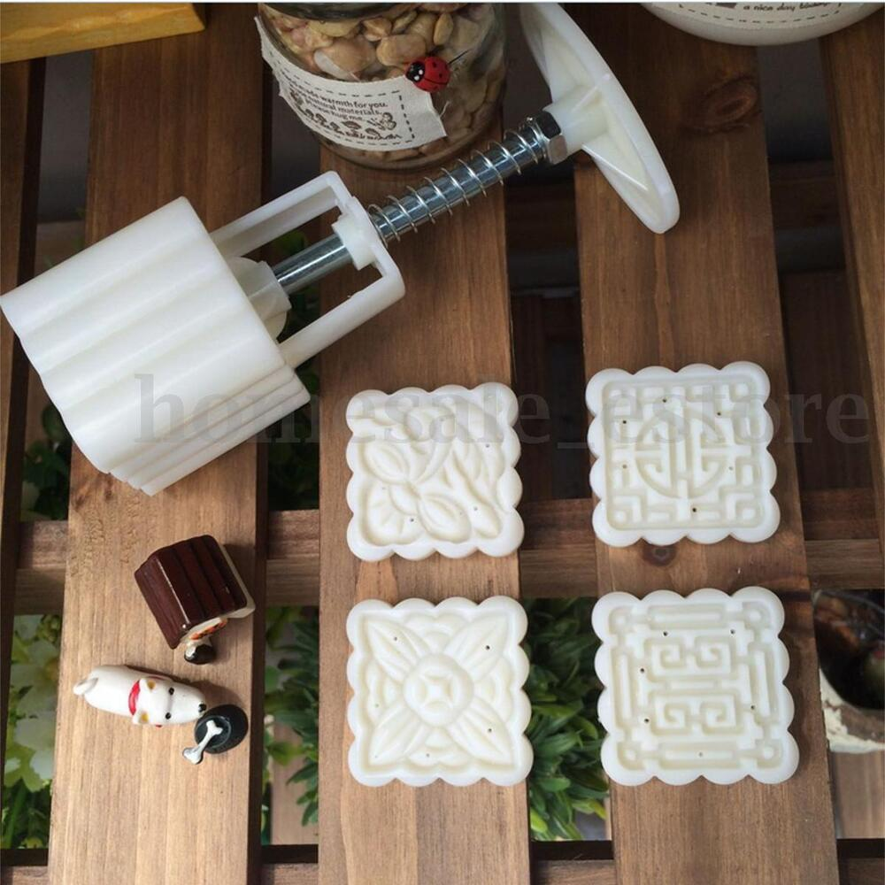 Moon cake mooncake decoration mold mould flowers square 4 for Decoration 4 cake