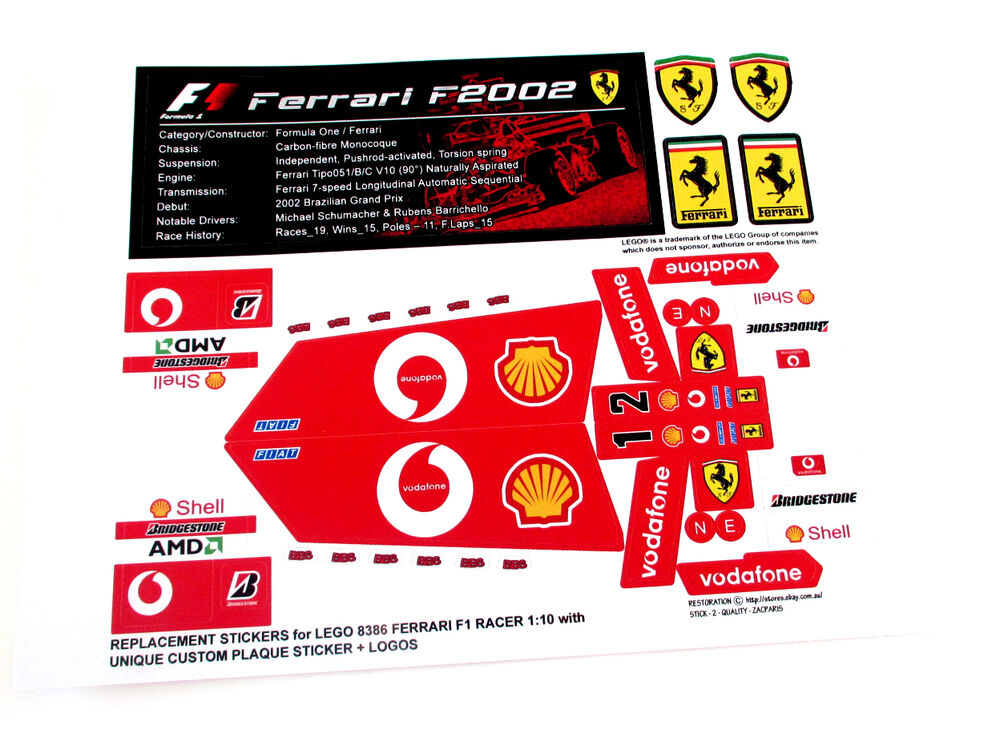 Replacement Stickers For Lego 8386 Ferrari F1 Racer With