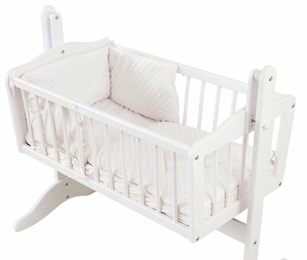 4baby Dimple White 2 Piece Rocking Crib Cradle Quilt And