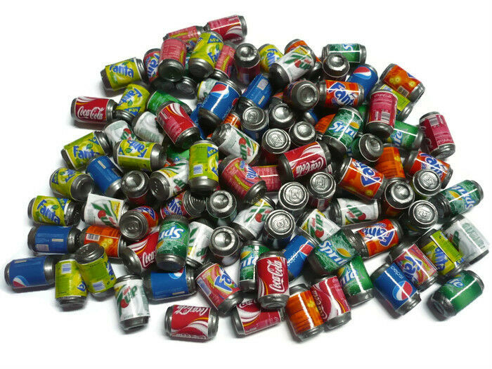 100 Mix Soda Cans Packs Dollhouse Miniature Beverage Drink