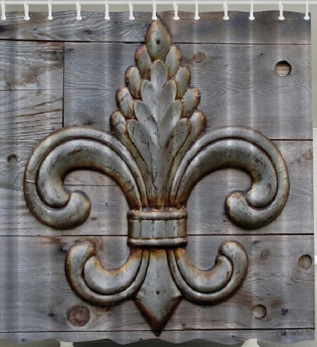 Fleur de lis rustic wood plank board fabric shower curtain weathered lily flower ebay - Fleur de lis shower curtains ...