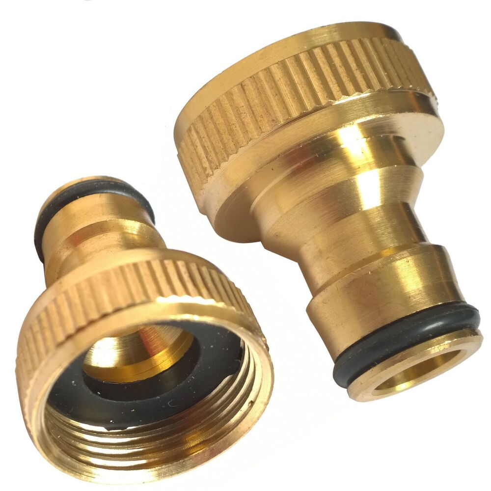 brass 3 4 threaded tap connector fits hozelock 1 2 snap fittings garden hose ebay. Black Bedroom Furniture Sets. Home Design Ideas