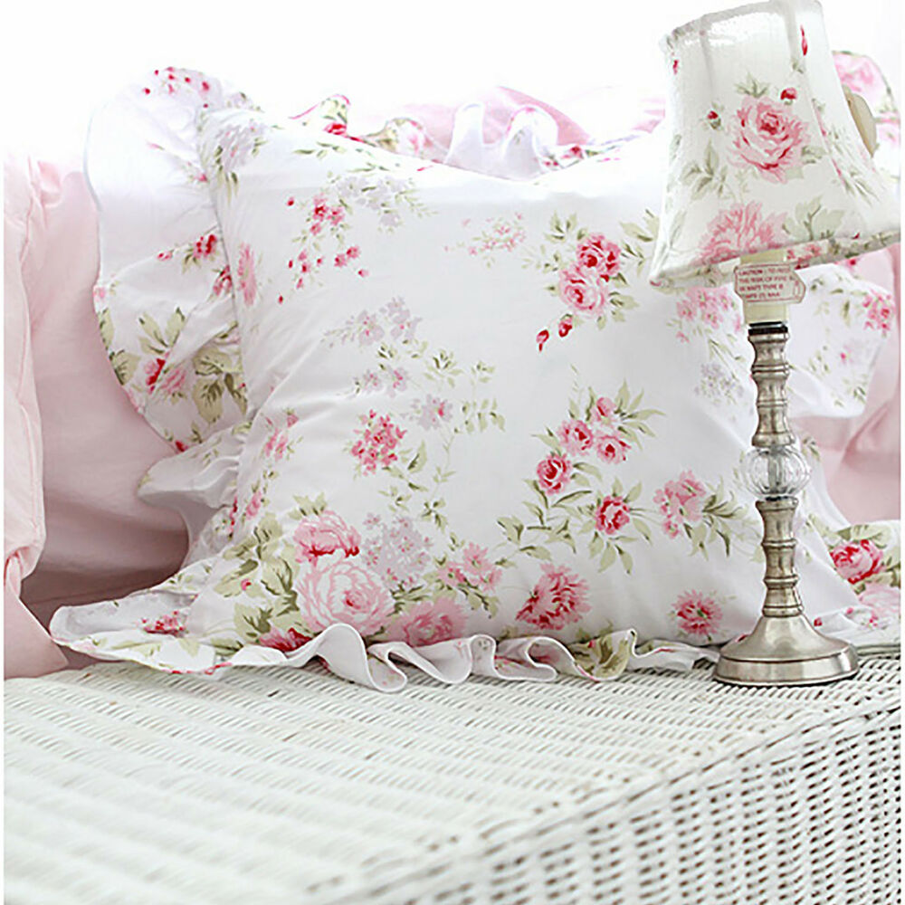shabby chic cottage floral ruffled square cushion pillow cover white cotton ebay. Black Bedroom Furniture Sets. Home Design Ideas