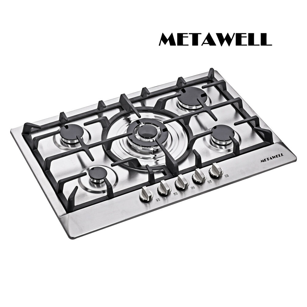 5 Burner Gas Cooktops: New 30 Inch Stainless Steel 5 Burner Built In Stoves NG