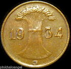 Germany - German Third Reich - German 1934G Reichspfennig Coin - S&H Discounts