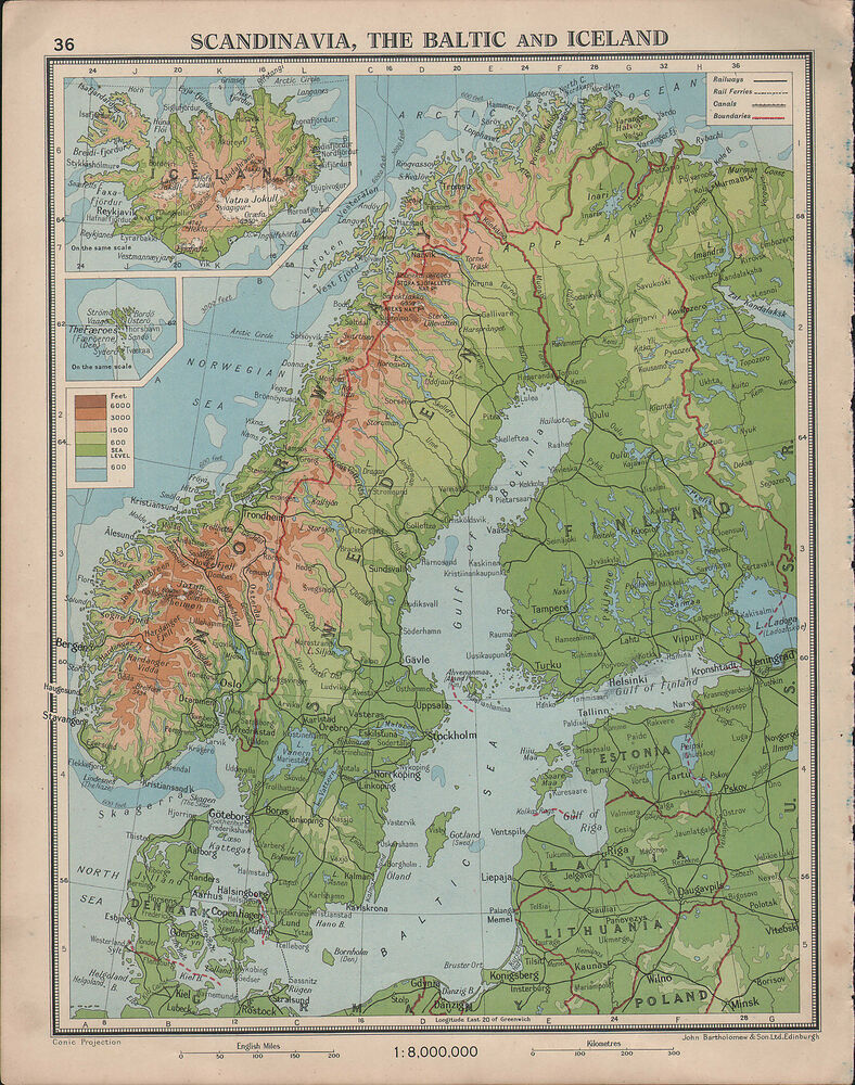 1939 MAP ~ SCANDINAVIA THE BALTIC ICELAND ~ FINALND NORWAY SWEDEN ...