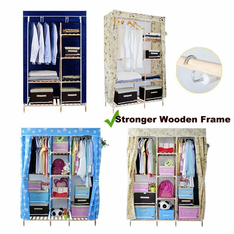 wooden triple multiple canvas wardrobe fabric clothes. Black Bedroom Furniture Sets. Home Design Ideas