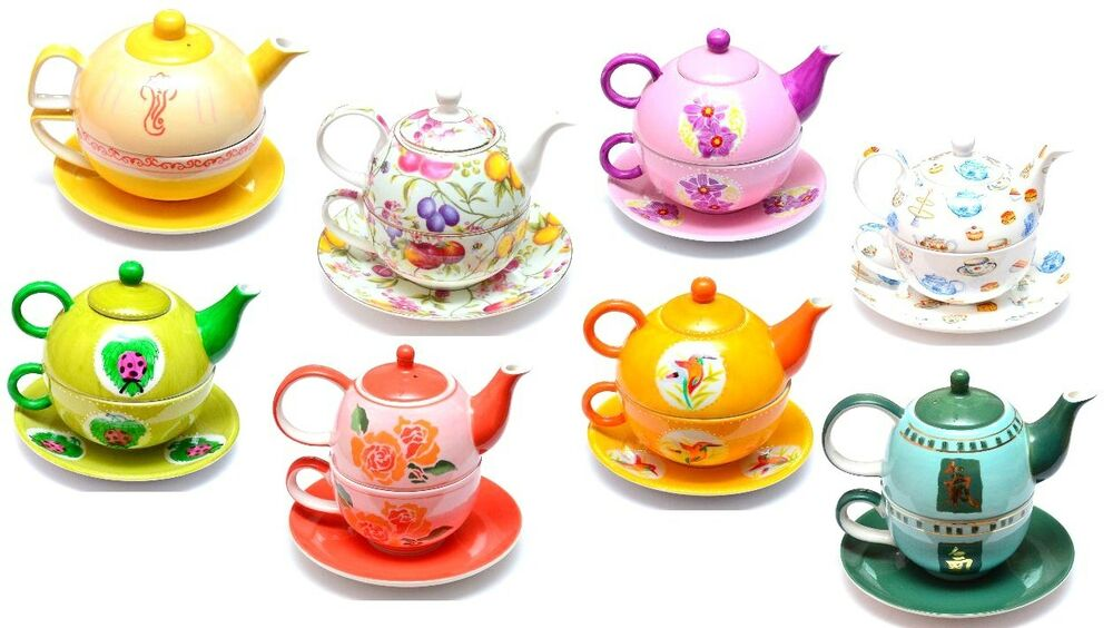tea for one teekanne teetasse porzellan kanne tasse teeservice 3 teiliges set ebay. Black Bedroom Furniture Sets. Home Design Ideas