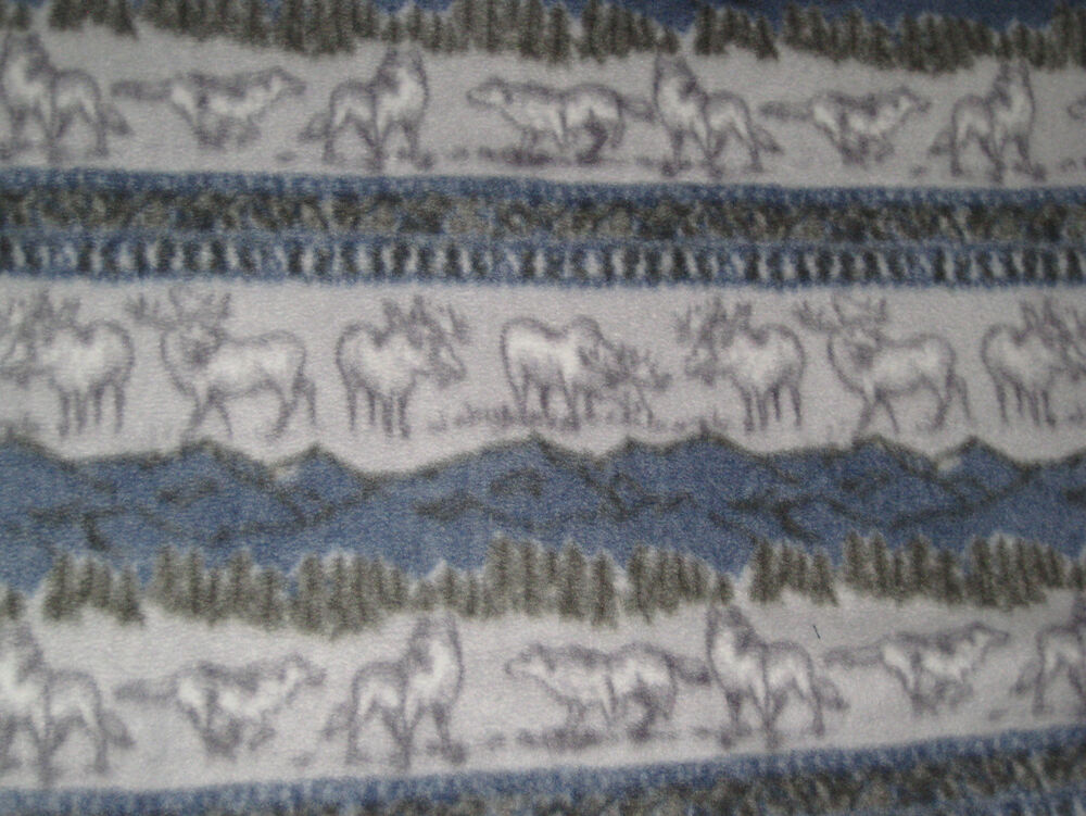 Moose Wolf Blizzard Fleece Fabric Material New Blue Grey