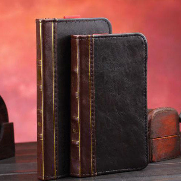 Old Book Case For Iphone : Retro book design antique leather flip wallet cover case
