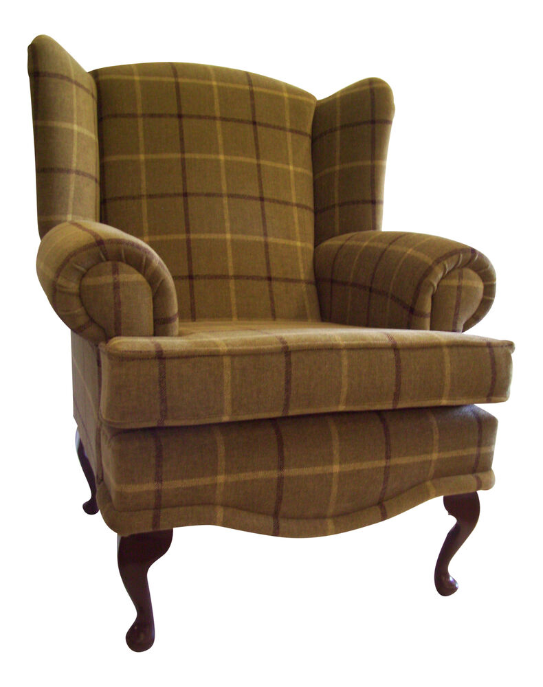 Cottage Wing Back Qa Chair In Green Check Fabric Ebay