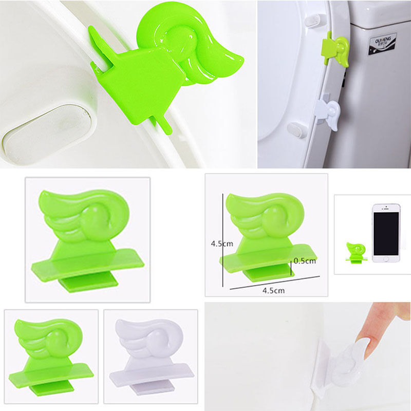 Aplum Peel And Stick Toilet Seat Handle For Flat Curved Seat Green And White