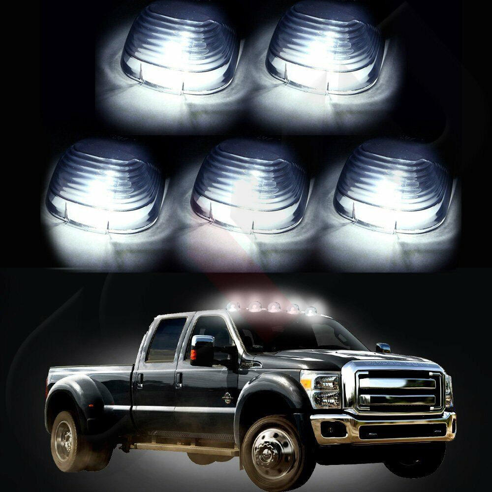 5 smoke roof running lights cab marker cover xenon white 194 led bulbs for ford ebay. Black Bedroom Furniture Sets. Home Design Ideas