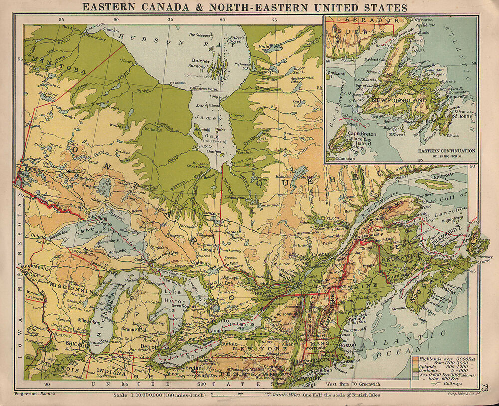 MAP EASTERN CANADA NORTHEASTERN UNITED STATES PHYSICAL - Map of eastern us and canada