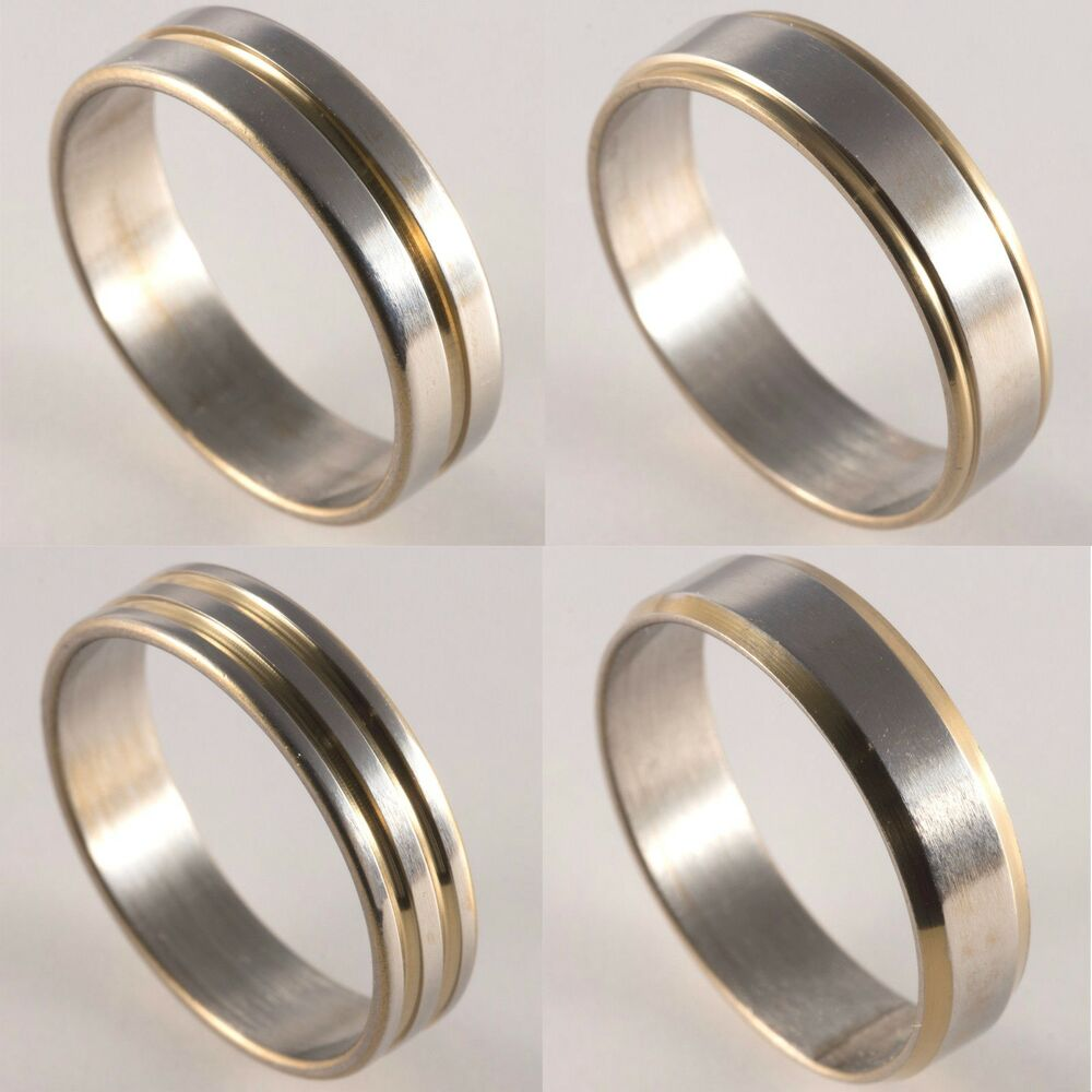 Wedding Ring Styles: New Mens Womens Silver And Gold Plated Wedding Bands Thumb