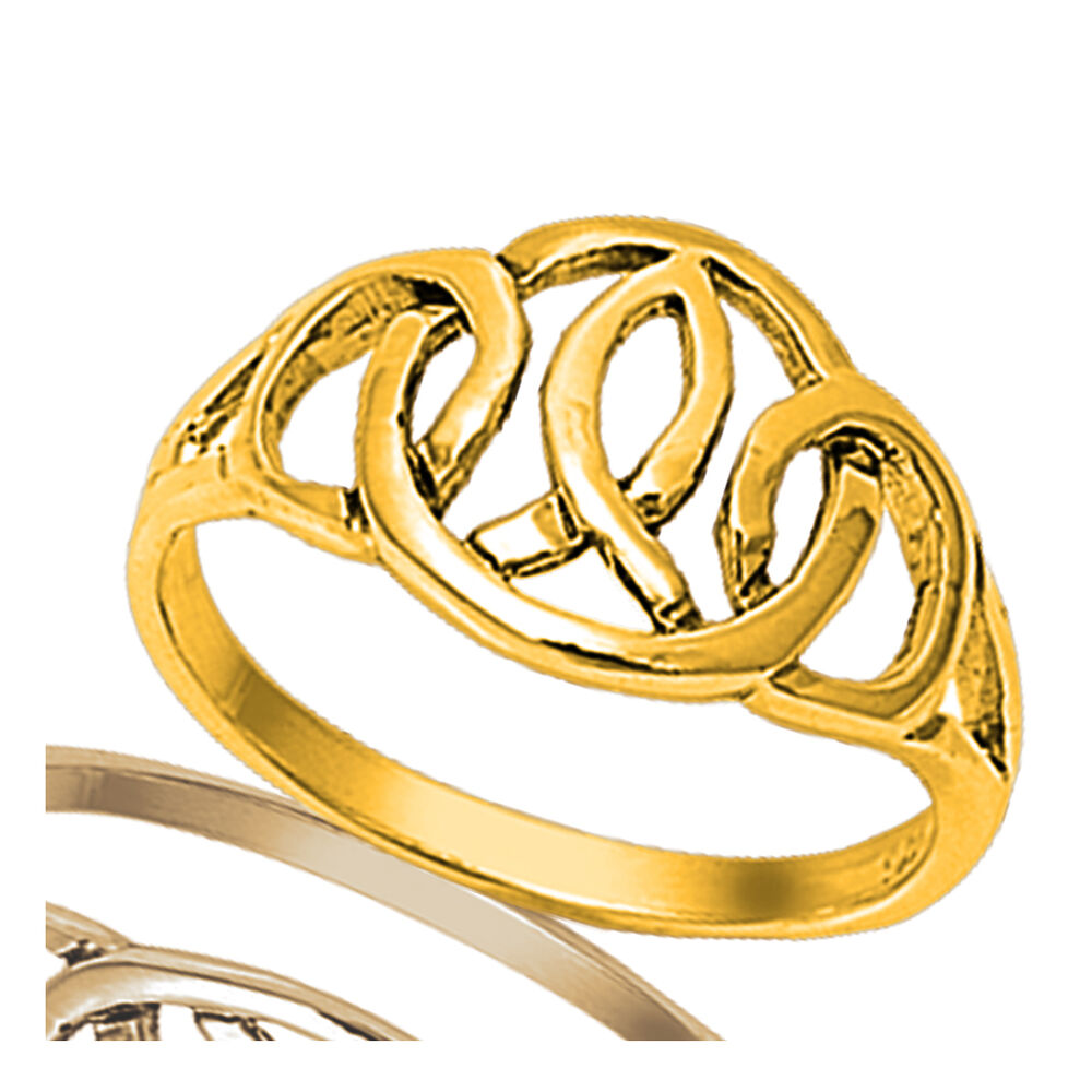 14k yellow gold ichthys fish celtic religious love genuine for Too cool fishing