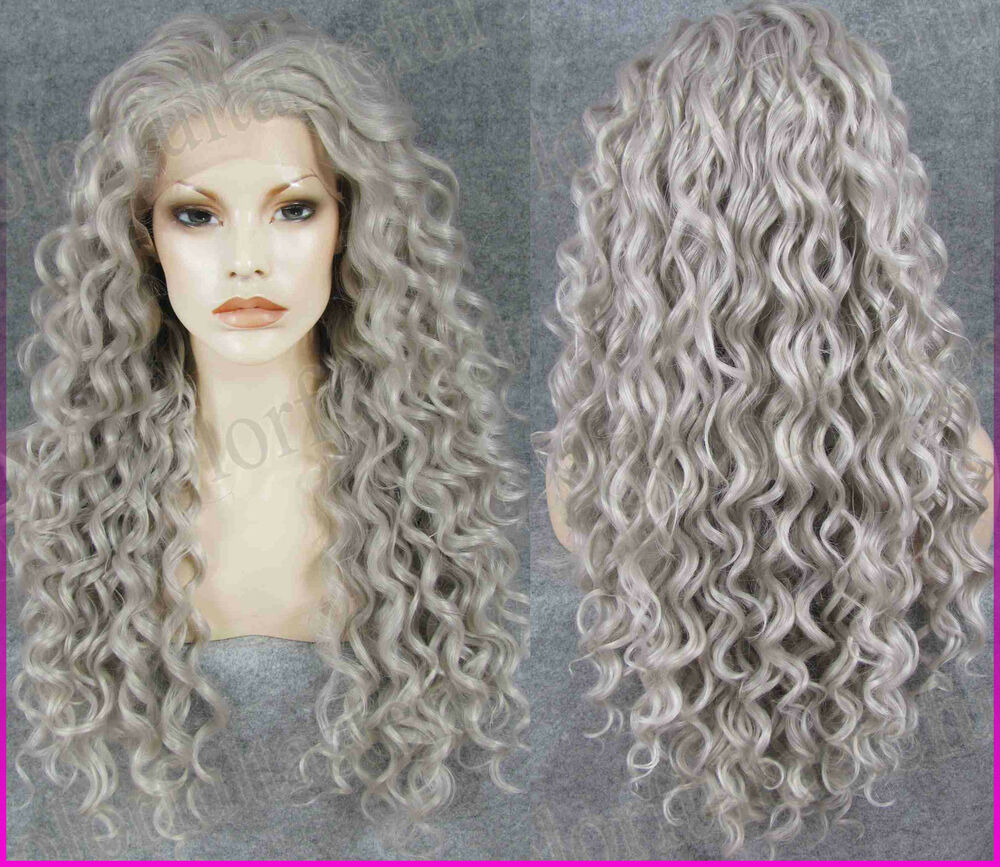 Gray Long Curly Lace Front Full Wig Wavy Hair Frontal Lace