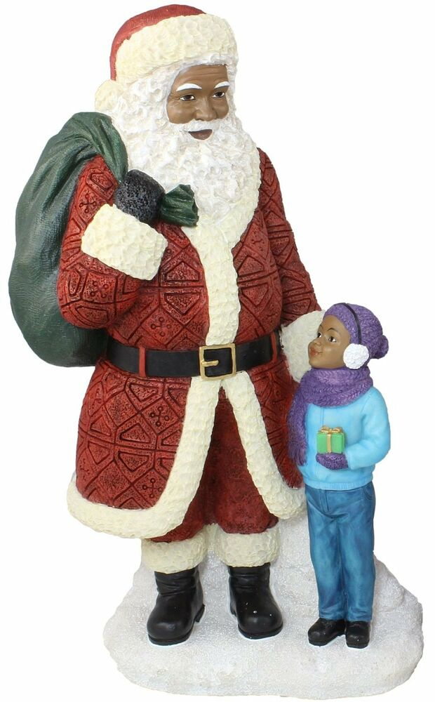 Santa with boy african american claus christmas