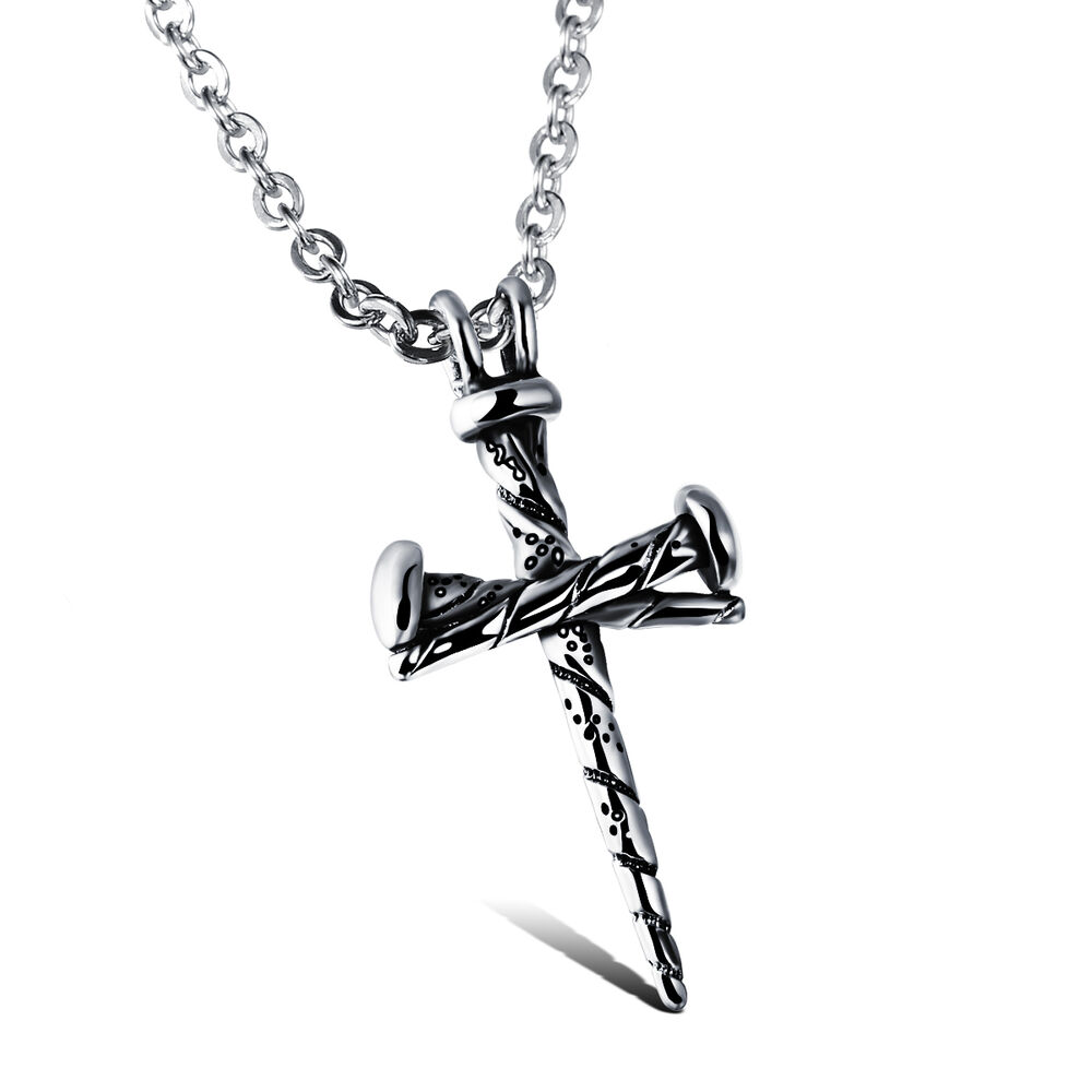 316l stainless steel unique simple cross necklace pendant for Black and blue jewelry cross necklace