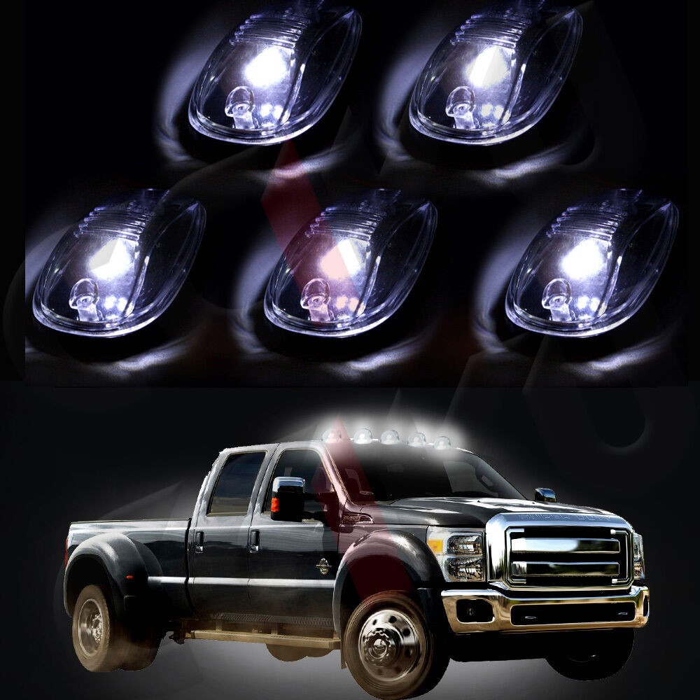 5x Clear Led Cab Roof Top Marker Running Light Amp Free Blub
