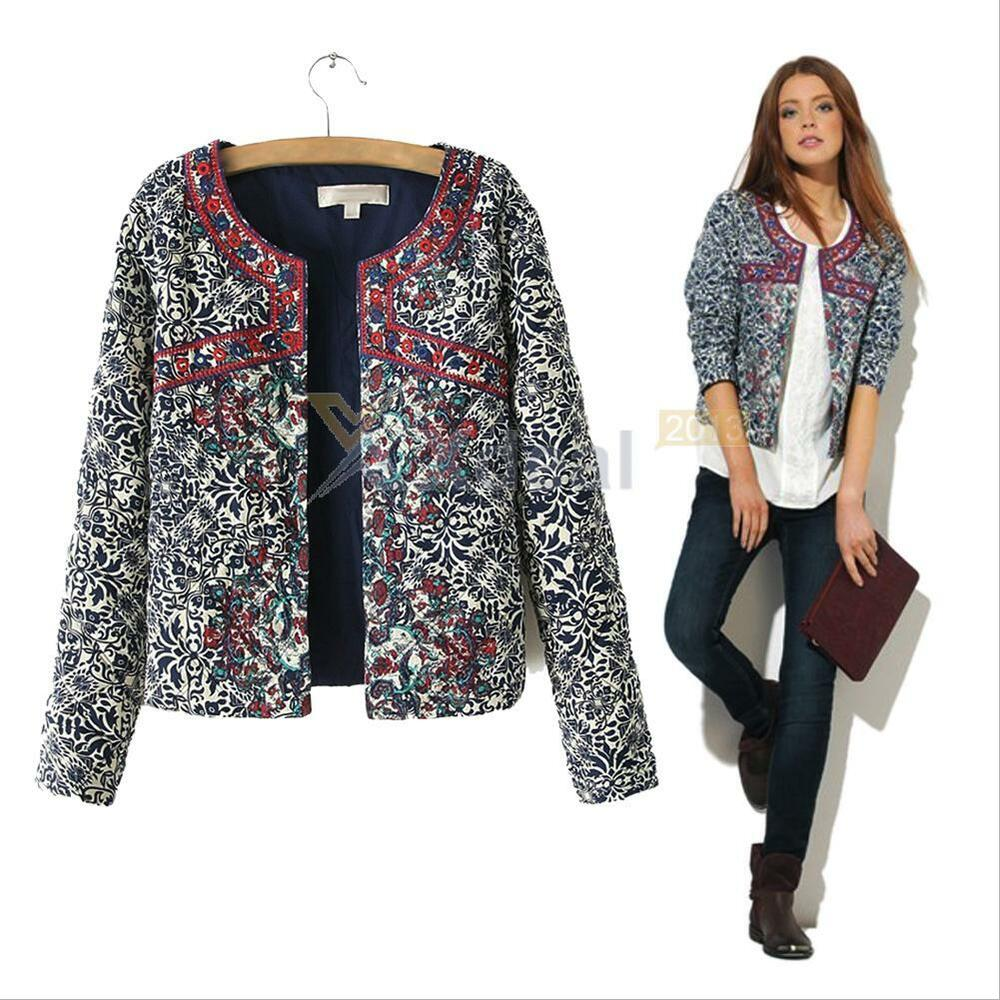 Floral print retro ethnic embroidered short jacket thin