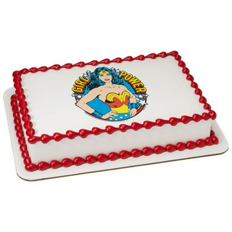 Birthday Cake Edible Pictures : Wonder Woman Girl Power Licensed Birthday ~ Cake Topper ...