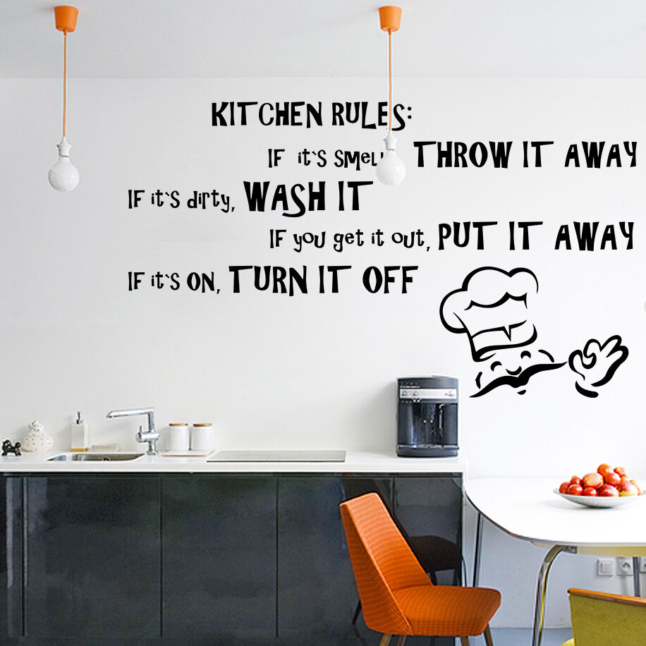 Kitchen Wall Vinyl: Vinyl Wall Decal Quote Kitchen Rules, Dining Room Text